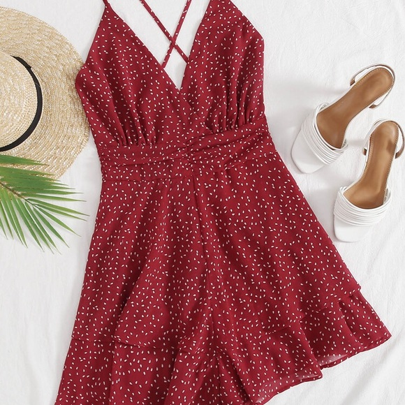 Red dot layered romper